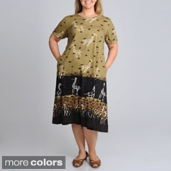 La Cera Women's Plus Size Giraffe Print A-line Knit Dress
