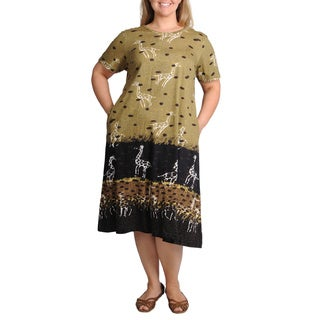 La Cera Women's Plus Size Giraffe Print A-line Knit Dress