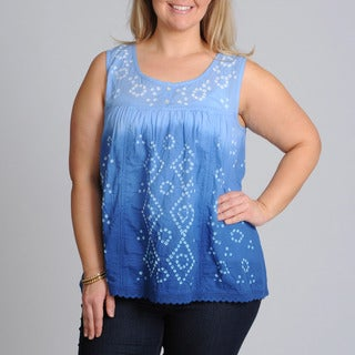 La Cera Women's Plus Size Blue Denim Ombre Sleeveless Top