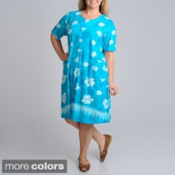La Cera Women's Plus-Size Unlined Floral-Printed Casual Dress