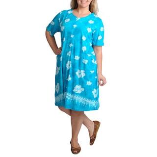 La Cera Women's Plus-Size Unlined Floral-Printed Casual Dress