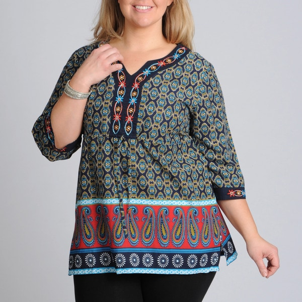 La Cera Women's Plus Size Paisley and Floral Print Drawstring Tunic