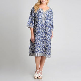 La Cera Women's Plus Size Floral Printed Casual Dress