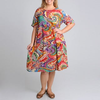 La Cera Women's Plus Size Paisley and Floral Print Casual Dress