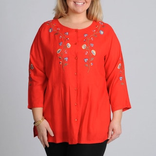 La Cera Women's Plus Size Red Floral Embroidered Button-down Top