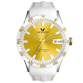 Viceroy Spain Men's 'Colors&Fun2' Gold Dial White Ceramic Bezel Watch