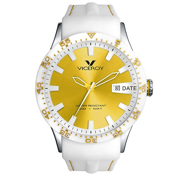 Viceroy Spain Men's 'Colors&Fun2' Gold Dial White Ceramic Bezel Watch