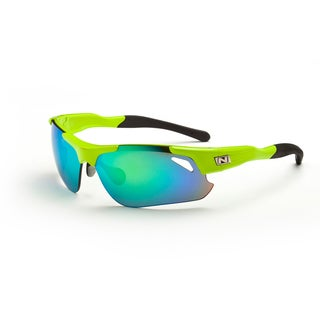 Optic Nerve 'Neurtotoxin 2.0' Shiny Green Sport Sunglasses with 3 Lens Pairs