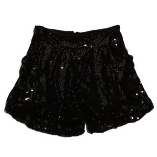 Paulinie Collection Girls Black Sequin Shorts