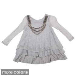 Paulinie Collection Girls Long Sleeve Top with Beaded Necklace