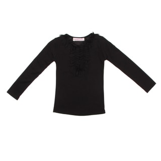 Paulinie Collection Girls Black Chiffon Detailed Long Sleeve Top