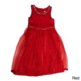 Paulinie Collection Girls Sleeveless Studded Waist Dress