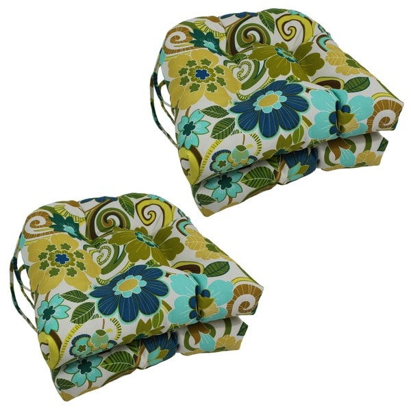 Blazing Needles Floral/ Stripe U-shaped 16-inch Outdoor Chair Cushions (Set of 4)