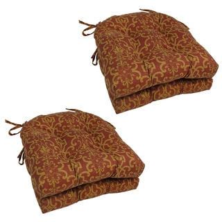 Blazing Needles Stripe/ Floral U-shaped 16-inch Outdoor Chair Cushions (Set of 4)