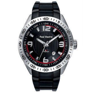 Viceroy Spain Men's Real Madrid Black Textured Dial Rubber Strap Watch