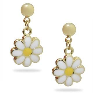 Junior Jewels 18k Gold Overlay Children's Enamel Daisy Earrings