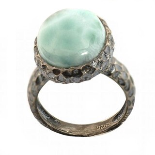 De Buman Sterling Silver Larimar Antiqued Ring