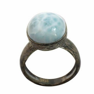 De Buman Sterling Silver Blue/White Larimar Antiqued-finish Ring