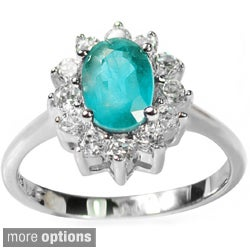 De Buman Sterling Silver Gemstone and Cubic Zirconia Love-themed Ring