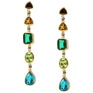 Michael Valitutti Gold over Silver Multi-gemstone Earrings