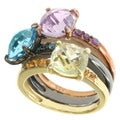 Michael Valitutti Tri-color Blue Topaz, Amethyst, Quartz and Citrine Ring