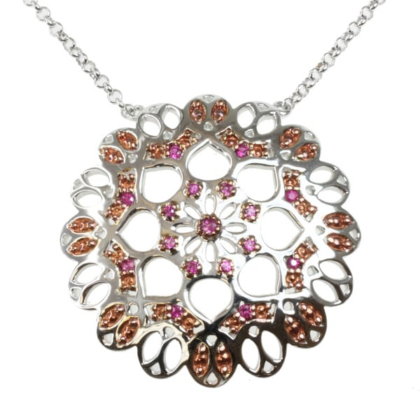 Michael Valitutti Two-tone Pink Sapphire Necklace