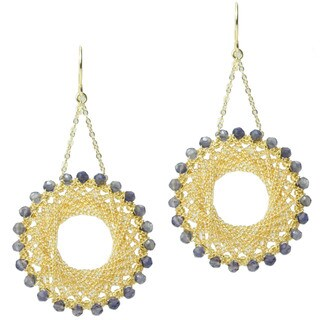 Michael Valitutti Gold over Silver Iolite Earrings