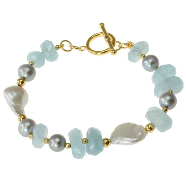 Michael Valitutti Gold over Silver Aquamarine and Grey Pearl Bracelet (8-12 mm)