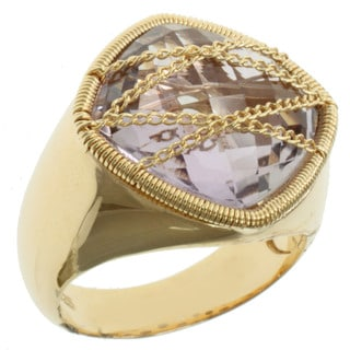 Michael Valitutti Gold over Silver Pink Amethyst Ring
