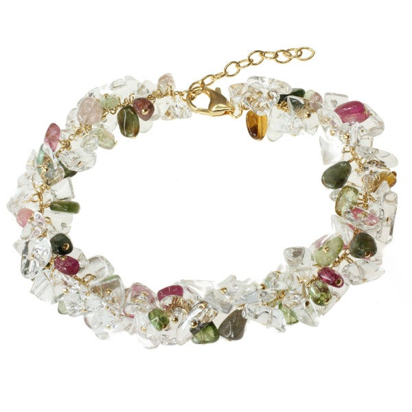 Michael Valitutti Gold over Silver Tourmaline and Quartz Bead Bracelet tourmaline bracelets