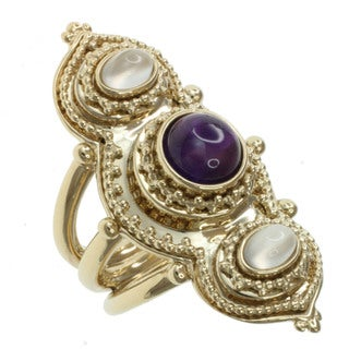 Michael Valitutti Two-tone Amethyst and Moonstone Ring