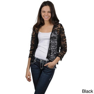 Journee Collection Women's Open Front Lace Jacket