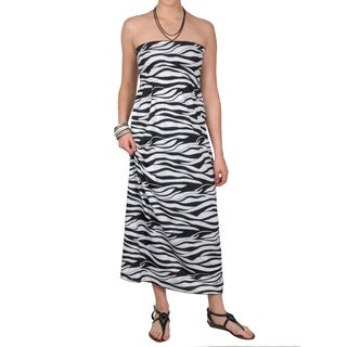 Journee Collection Juniors Smocked Strapless Maxi Dress - Black/White