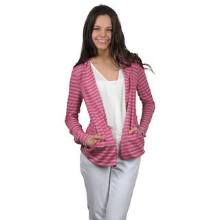 Journee Collection Juniors Striped Long Sleeve Open Front Cardigan