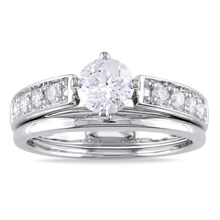 Miadora 10k White Gold 1ct TDW Diamond Bridal Ring Set (G-H, I2-I3)