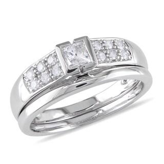 Miadora 10k White Gold 1/2ct TDW Diamond Bridal Ring Set (G-H, I2-I3) with Bonus Earrings