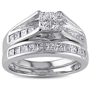 Miadora Signature Collection 14k White Gold 1ct TDW Certified Diamond Bridal Ring Set (G-H, I1)