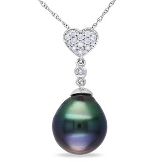 Miadora 10k Gold Pearl and 1/10ct TDW Diamond Necklace (H-I, I2-I3)
