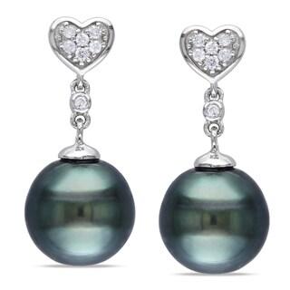 Miadora 10k Gold Pearl and 1/10ct TDW Diamond Earrings (H-I, I2-I3)