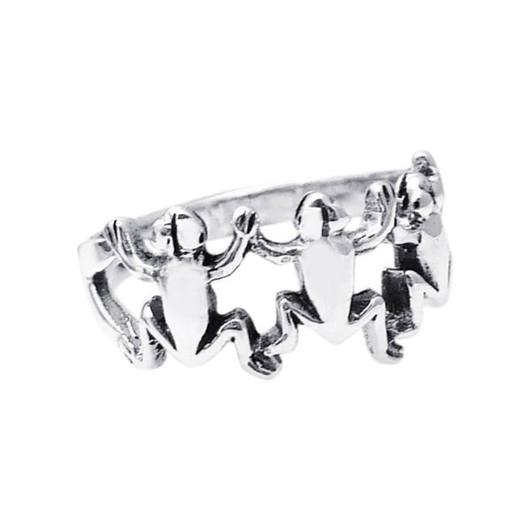 Sterling SilverLeaping Frog Unity Trio Ring (Thailand)