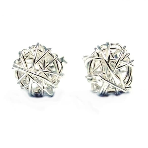 Silver Tangled Wire Wrap Round Post Earrings (Thailand)
