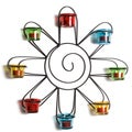 Wall Multi-color Metal and Glass Sunburst Votive Holder