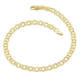 Fremada 14k Yellow Gold 4.3-mm Round Link Charm Bracelet