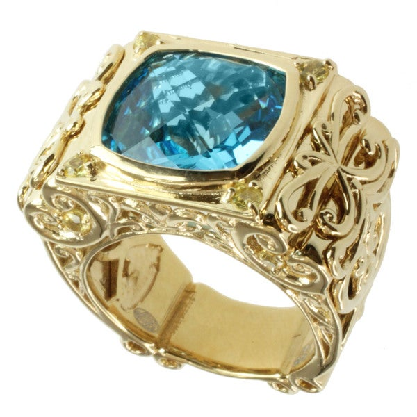 Dallas Prince Gold over Silver Swiss Blue Topaz and Yellow Sapphire Ring