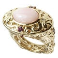 Dallas Prince Gold over Silver Pink Opal Ring