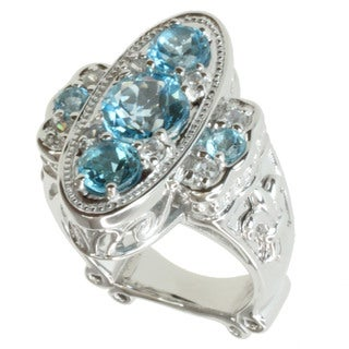 Dallas Prince Sterling Silver Swiss Blue Topaz and White Zircon Ring