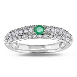 Miadora 14k White Gold Emerald and 1/2ct TDW Diamond Ring (G-H, I1-I2)