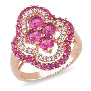 Miadora 14k Gold Multi-gemstone and 1/6ct TDW Diamond Ring (G-H, I1-I2)