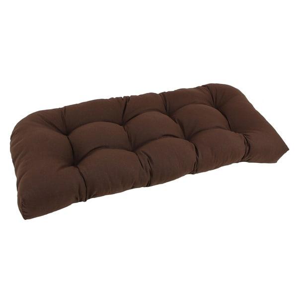 Blazing Needles Earthtone 42-inch U-Shaped Tufted Twill Settee Cushion