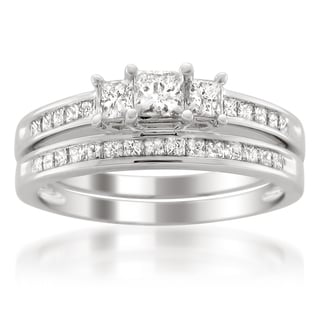 Platinum 1ct TDW Princess-cut Diamond Bridal Ring Set (H-I, I1-I2)